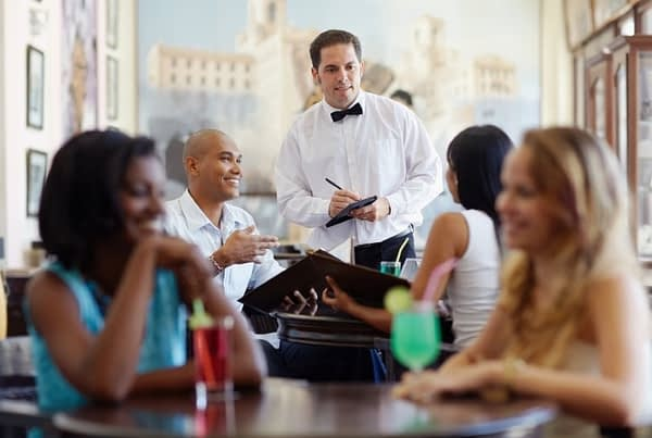 server taking an order at a restaurant