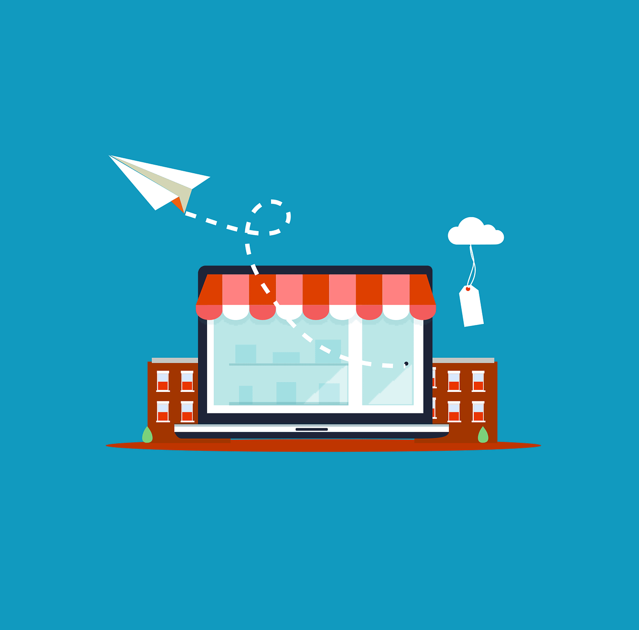 vector sketch of office with paper airplane flying out and price tag hanging from a cloud, representing marketing concepts