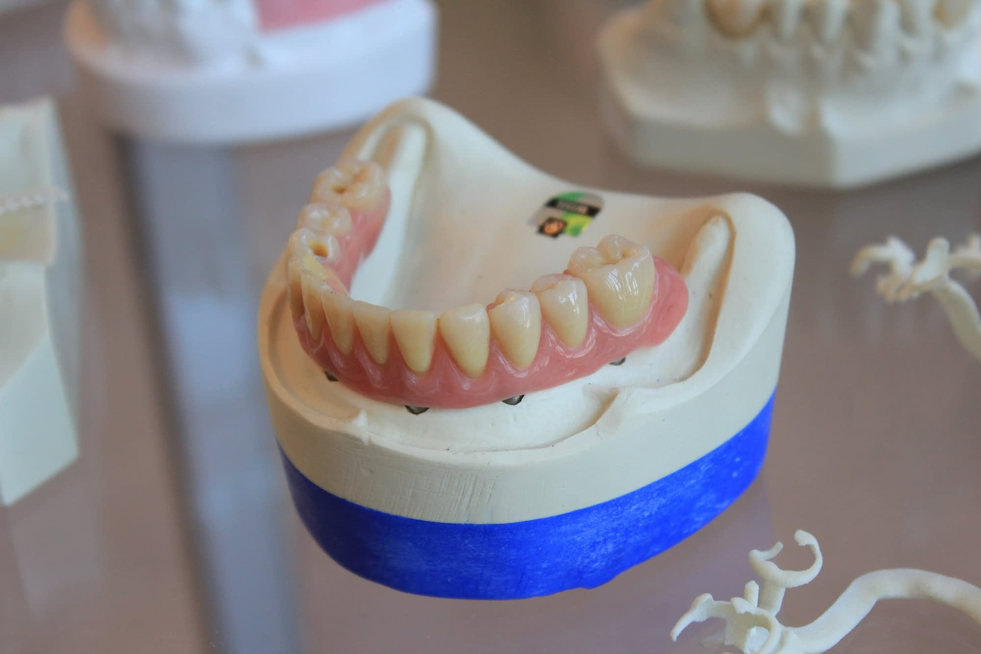 dentures on a white tray