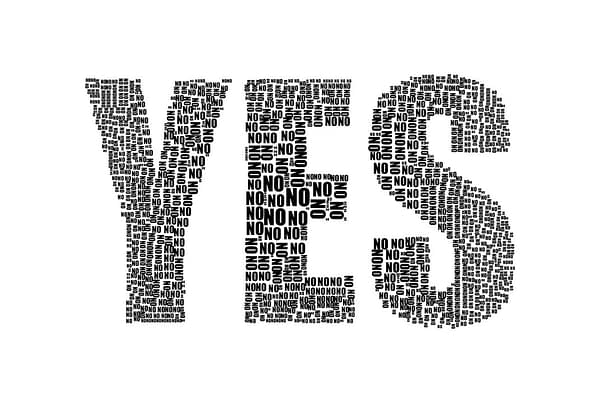the word NO written many times in the shape of the word YES