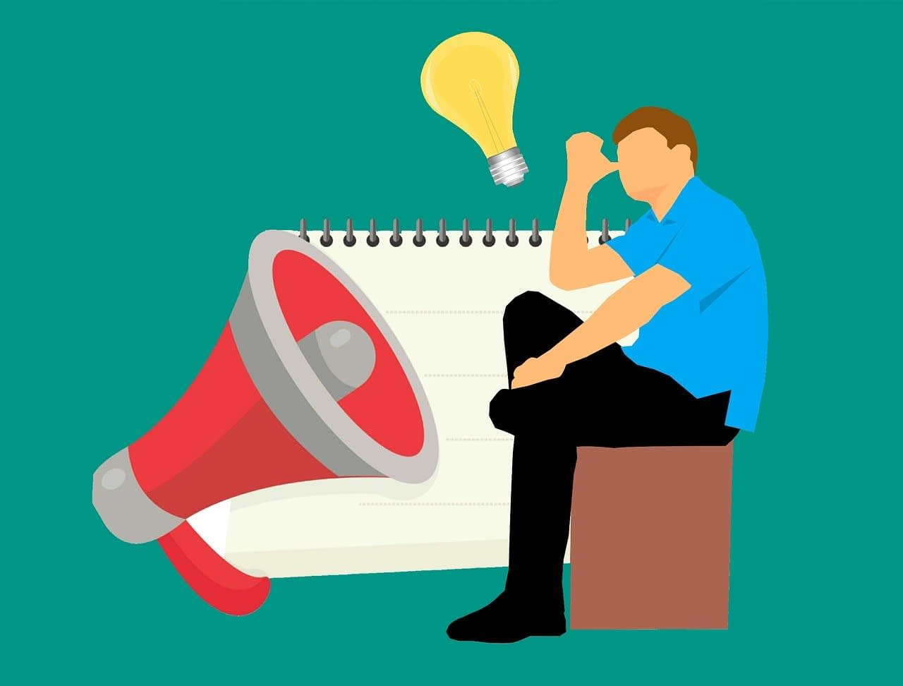 a sketch of a person with a megaphone and a notepad and a lightbulb as if he is trying to think of something to say